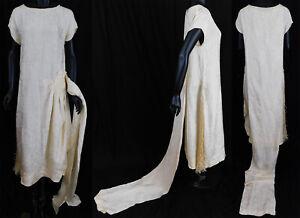 Vintage Art Deco White Silk Damask Beaded Bridal Wedding Watteau Train Dress