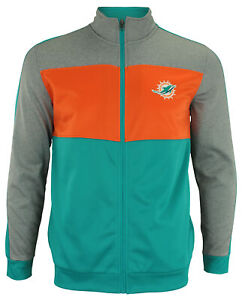 OuterStuff NFL Youth Boys Performance Full Zip Stripe Jacket , Miami Dolphins