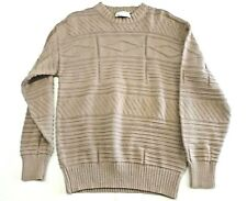 VINTAGE LORD JEFF BEIGE CABLE KNIT SWEATER MEN'S SIZE MEDIUM