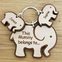 PERSONALISED MOTHERS DAY CHRISTMAS GIFT BIRTHDAY MUMMY MUM NAN ELEPHANT KEYRING