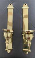 Vintage Mod Mid Century MCM PAIR BRASS Gold WALL CANDLE HOLDERS SCONCES