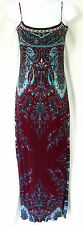 YIGAL AZROUEL Size 00/0 XXS/S Burgundy Blue Paisley Fitted Knit Maxi Dress
