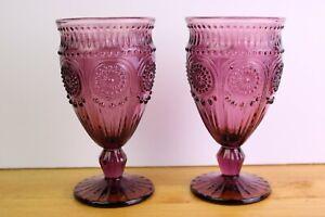2 Adeline Plum Purple Water Goblets Pioneer Woman Textured 12 oz Embossed
