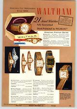 1957 PAPER AD 4 PG Waltham Wrist Watch 21 Jewel Patrick Henry John Hancock