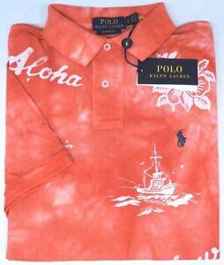 Polo Ralph Lauren Short Sleeve Classic Fit Hawaii Aloha Light Red Mesh NEW $98