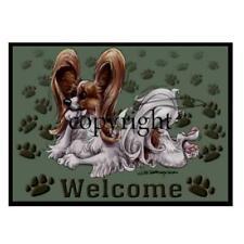 Papillon Dog Breed Paws Cartoon Artist Welcome Doormat Floor Door Mat Rug