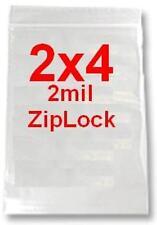 "1000 2x4 2mil CLEAR ZIPLOCK BAGS 1,000 baggies 2""x4"" jewelery dime plastic poly"