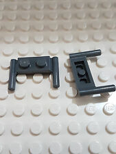LEGO-X 2 gery Plates, Modified 1 x 2 with Handles - Round Ends, Mid Attachment