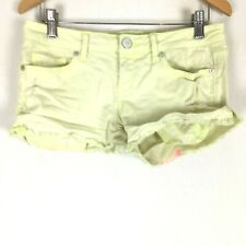 Aeropolstale Womens Junior Jean Shorts 1 /2 Neon Yellow Green Cutoffs Distressed