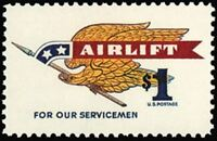 #1341 Mint NH 1968 Airlift Stamp for US Servicemen Retail Value $3.75 Eagle