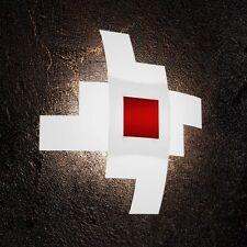 Plafoniera in vetro bianca e rossa moderna a 4 luci tpl 1121/55-RO