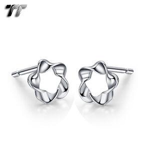 TT RHODIUM 925 Sterling Silver Flower Earrings (925E12) NEW