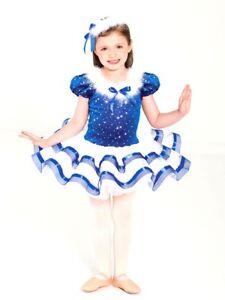 REVOLUTION DANCEWEAR Let it Snow Blue / White Velvet Dress- Style 189 Sz S