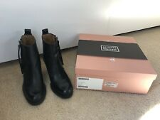 Acne Studios Black Leather Pistol Stacked Heel Ankle Booties Boots EUC Size 35