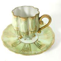 Demitasse Royal Sealy Japan Bone China Lusterware Tea Cup Saucer Green bamboo