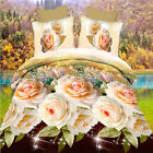 Queen Size Bed Quilt/Doona/Duvet Cover Set Yellow Floral New Pillow Cases Sets