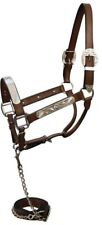 LEATHER & SILVER HORSE SHOW HALTER & LEAD W/ CHAIN DARK BROWN, BLACK, MED BROWN