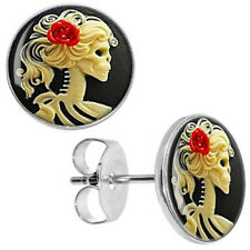 Earrings Woman Skull Red Rose Boucles d'oreilles Crâne Squelette Femme Gothic