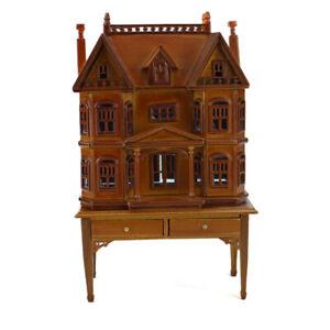 1/144 scale Miniature DollHouse Walnut House shape on 1/12 scale table Wooden