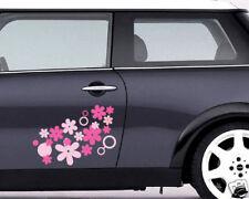 00057 Stickers Adesivi Auto Mini Smart 500 Fiori e cerchi 60x43 cm