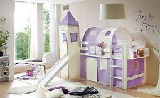 Lit mezzanine avec toboggan et tour TOBY R Hêtre massif teinté blanc tissus Mauv