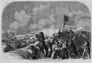 NEW ORLEANS BATTLE OF 1815 ANTIQUE WOOD-CUT ENGRAVING BATTLE OF NEW ORLEANS