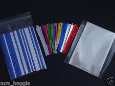 """50 X 6"""" CAKE POP KIT BLUE & WHITE STICKS 4"""" x 6"""" CELLO BAGS METALLIC TWIST TIES"""