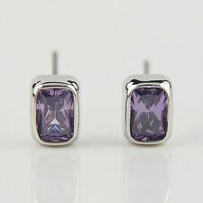 14k white Gold plated purple crystals men women unisex stud sleeper earrings