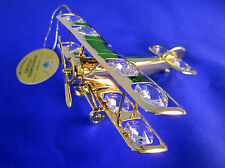 aeroplan con Swarowski CRISTALES equipado chapado en oro viejo PILOTO 9cm Largo