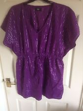 PURPLE WITH THIN SILVER STRIPE BEACH COVER UP SIZE M BY F&F