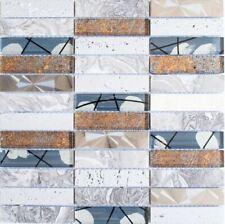 Mosaico Piastrella Vetro Resina Acciaio inox Trasparente Grigio 87-24X |1 foglio