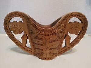 Vintage Hand Carved Wooden Scandinavian Wedding Cup, Acorns