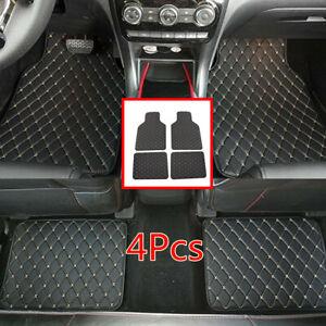 4Pcs Black&Beige Line PU Leather Car Floor Mat Front+Rear Carpet Protect Pad Kit