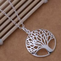 """Silver Plated Hot Tree Of Life Pendant 925 Stamped Necklace Curb Chain 18 """" Gift"""