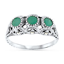 ANTIQUE DESIGN GENUINE EMERALD .925 STERLING SILVER FILIGREE RING SIZE 10, #46