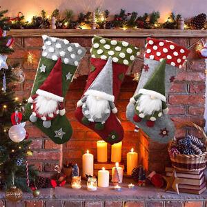 Christmas Stocking Gnome Snowflake Pattern Gift Bags Xmas Tree Hanging Ornament