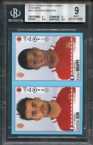 2016 2017 Panini Foot Ligue 1 France Mbappe rookie card RC # 504/505 BGS 9 MINT