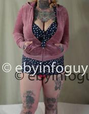 JUICY couture L Hoodie jacket Pink Velour Zip up Kanga pockets jewels sweatshirt