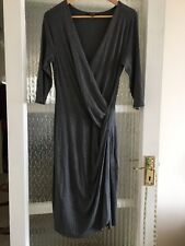 PHASE EIGHT WRAP DRESS SIZE UK 14 IN GREY NICE CONDITION