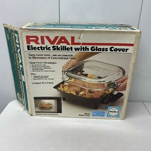 Vintage Rival Electric Skillet Frying Pan with Glass Cover in Original Box