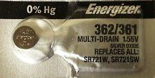 ENERGIZER 362/361 SR721SW SR721W WATCH BATTERIES NEW SEALED Authorize Seller