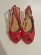 Womens Dorothy Perkins Shoes size 4 red patent peep toe high heel vgc