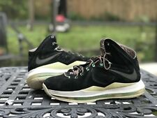 Nike Lebron 10 X EXT Size 8 Black Mint Nubuck Suede 607078-001 100% Authentic