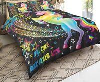 3D Rainbow Unicorn Fairytale with Sparkling Stars Bedding Sets Microfiber Black
