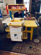 Vintage Fisher Price Fun Food Kitchen fridge stove oven Sink huge lot dishes