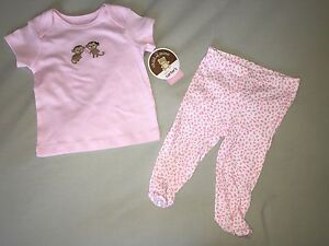 NEW JUST ONE YOU BY CARTERS 0 3 MONTHS 2 PIECE SET PINK WHITE MONKEY