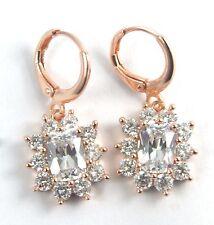 Women's 18 Carat Rose Gold Plated Clear Zircon Huggie Hoop Drop Dangle Earrings