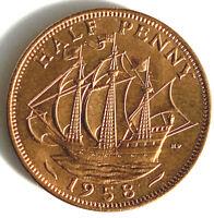 1958 Elizabeth II Half-Penny UNC Uncirculated Good Lustre
