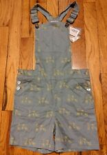 Nwt Le Marchand D'Etoiles Boys Gray Cotton Bicycle Print Overall Shorts, Size 6