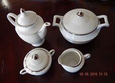 Favolina Retro Coffee Pot Tureen Creamer Sugar Bowl Platinum Trimmed China